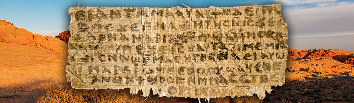 Gospel of Jesus' wife fragment. Background photo: Jame Marvin Phelps/Foter/CC BY NC