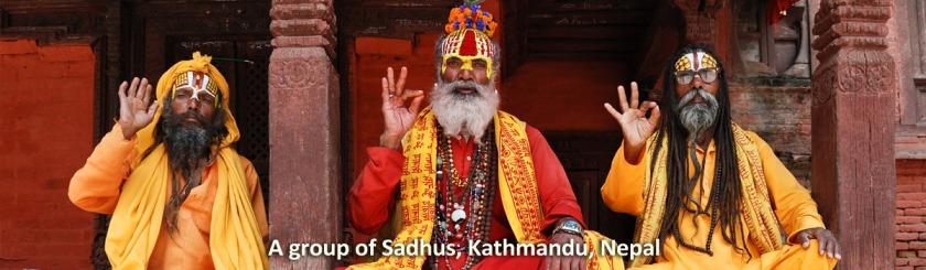 Three Sadhus in Kathmandu, Nepal. The author notes they were not the strictist observers. Photo Markus Koljonen/Wikipedia