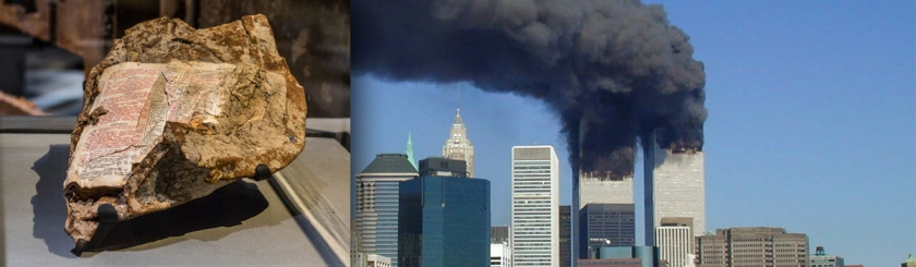 (Left) Metal with Bible page fused on it: Photo Jin Lee National September 11 Memorial Museum (Right) Twin Towers in flames Flickr/Michael Foran