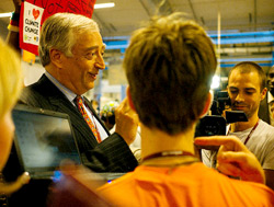 Lord Monckton being assailed by Climate activists and the UN's Climate Change Conference in Copehagen in 2009. Photo: Mat McDermott/Flickr
