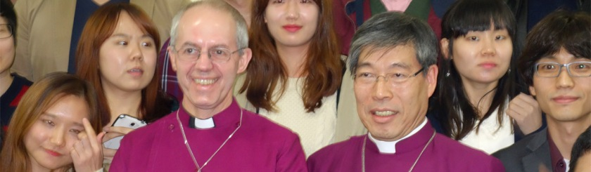 Archbishop Justin Welby with Korean prelate Kim Geun-Sang in Seoul: Wikipedia/Ellif