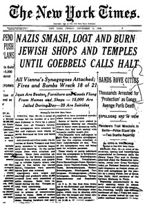 Front page of the New York Times, November 11, 1938.