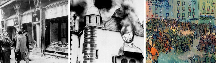 Images of Kristallnacht -- Left to right: Destroyed Jewish owned shop, buring synagogue, Image appearing in a Nazi newspaper depicting Kristallnacht