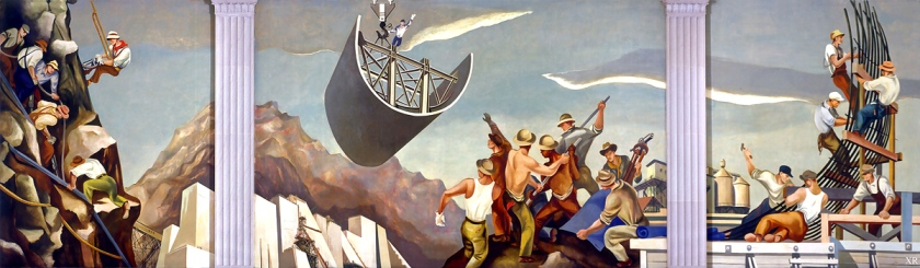Mural of a dam construction by William Gropper (1939). Photo: James Vaughan/Flickr/Creative Commons