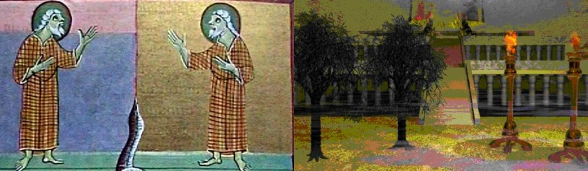 Left: a drawing of the two witnesses from the Bamberg Apocalypse (11th century). Right: picture of the two olive trees and lamp stands www.the-tribulation-network.com/Wikipedia