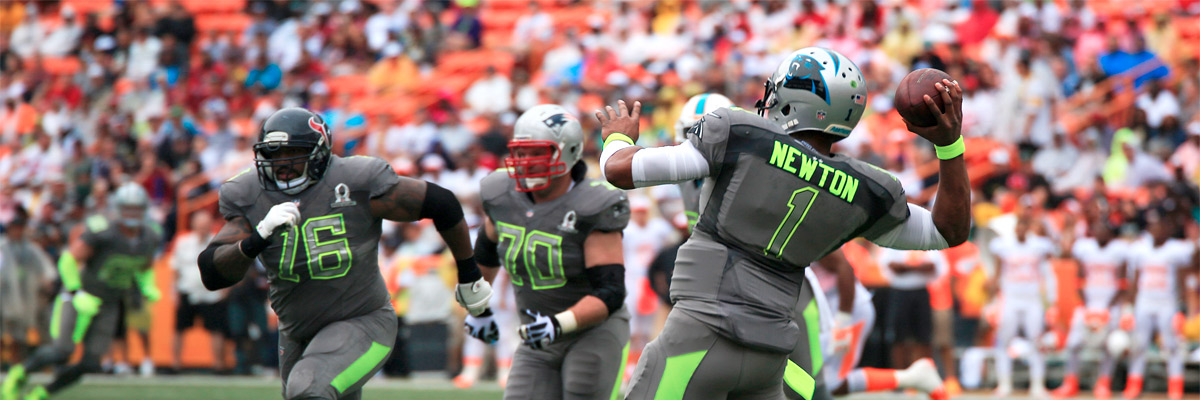 Cam Newton passing at the 2014 Pro Bowl: Photo/Lance Cpl. Matthew Bragg/Wikipedia/Creative Commons