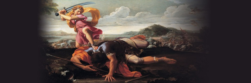 Painting of David slaying Goliath with the giant's sword by Guillaume Courtois (1628-1679) Wikipedia