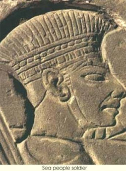 An image of the Philistine helmet which typically covered the forehead