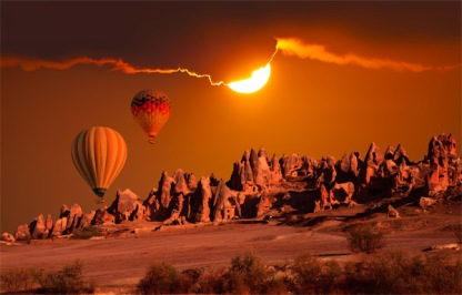 Hot air balloon rides are a popular way of viewing the area.
