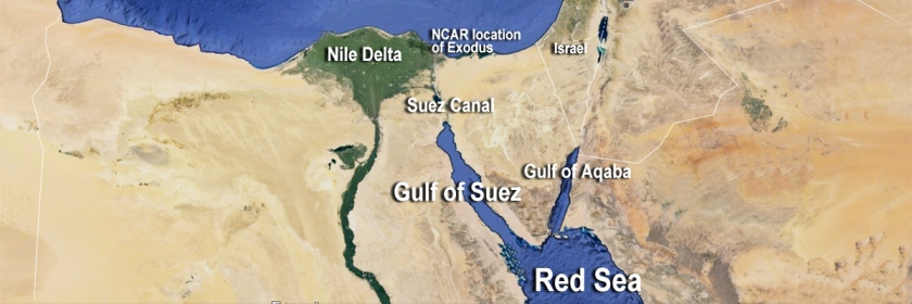 Map of the area of the Red Sea showing the region where God parted the waters.