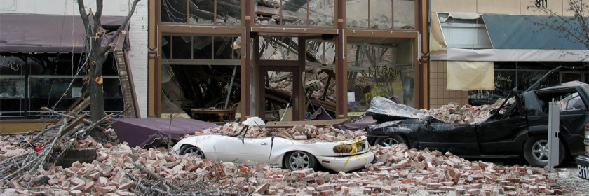 The aftermath of a 6.5 magnitude earthquake that hit California on December 22, 2003. Photo: Brian Lopez/Flickr/Creative Commons