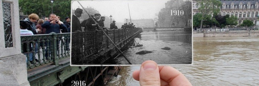 Comparing the 1910 flood in Paris with the 2016. Photo: Julien Knez/Twitter