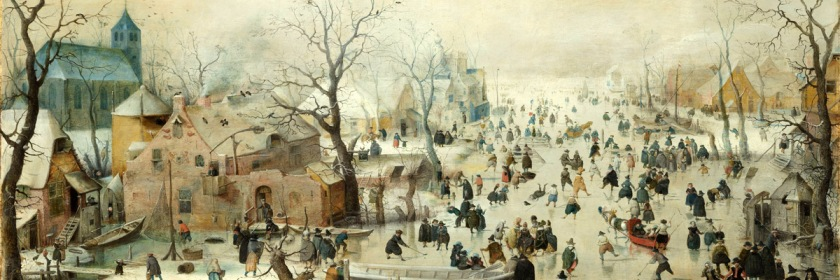 Painting by Hendrick Avercamp (1585-1634) of people skating on the ice in Holland during the Little Ice Age.