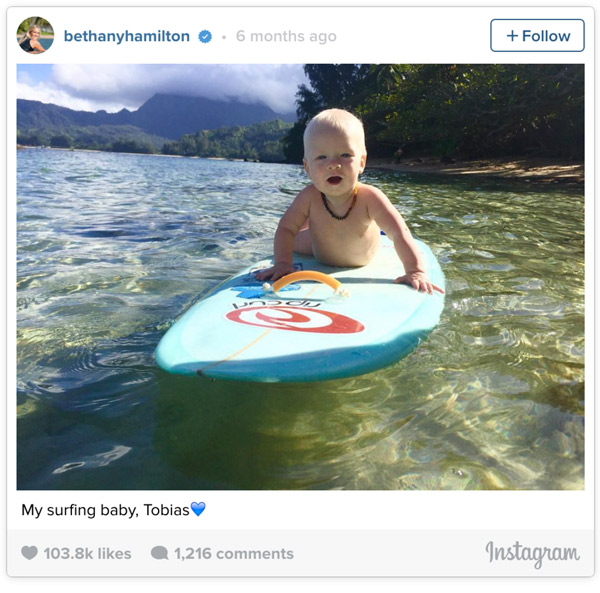 Bethany teaching her six-month-old son Tobias how to surf: Instagram