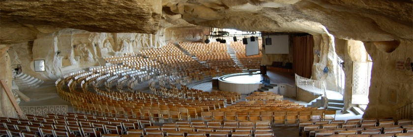 Inside Egypt's cave church where 70,000 meet in services on a weekly basis. The church can seat 20,000 inside and thousands more outside. Photo: vagabondblogger/Flickr/Creative Commons