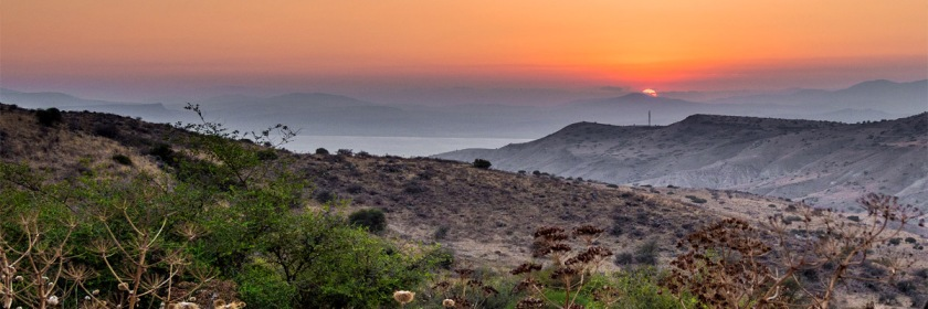 Galilean Sunset. You can see the Sea of Galilee in the distance. Photo: Dan Zelazo/Flickr/Creative commons