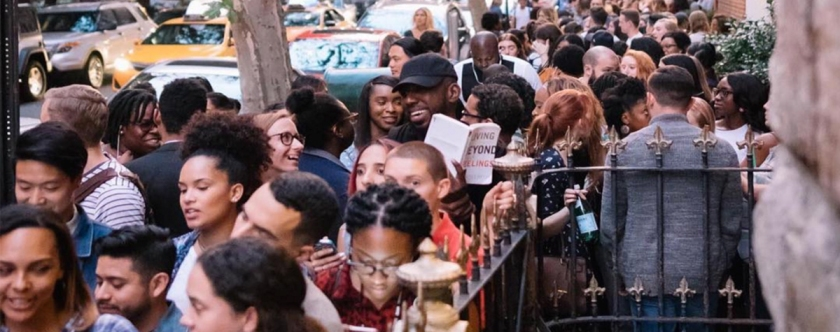 People lining up down the street and around the corner to attend a service at Hillsong NY. Photo: Carl Lentz/Instagram