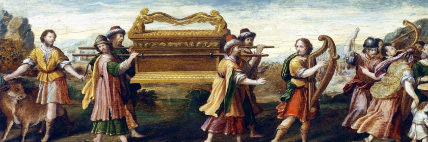 King David moving the Ark of the Covenant from Gibeon to the Tabernacle of David in Jerusalem. Painter unknown