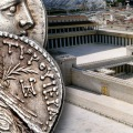 Shekel overlaid on a model of the Temple: Source Wikipedia/Juan R. Cuadra