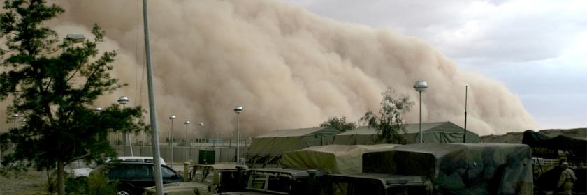 An approaching sandstorm in Al Assad, Iraq in 2005. Credit: US Marine Corp/Wikipedia