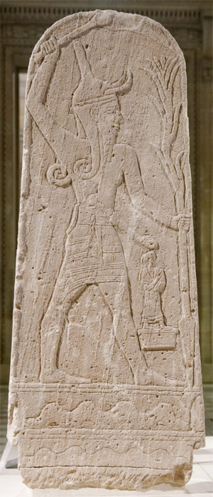 Stele (granite slab) at the Louvre Museum with an image of Baal holding a thunderbolt carved on it. Credit: Jastrow/Wikipedia
