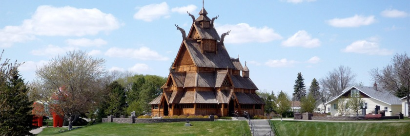 Stave Church in Scandinavian Heritage Park, Minot, North Dakota. Credit: Bobak Ha'Eri