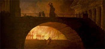 Artist portrayal of the Great Fire of Rome (64AD) by Hubert Robert (1733-1808): Wikipedia