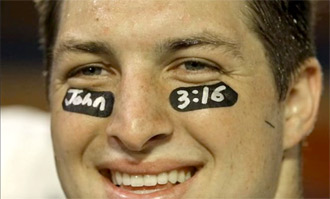 John 3:16 written in Tim Tebow's eye black during a Gator game: Youtube capture