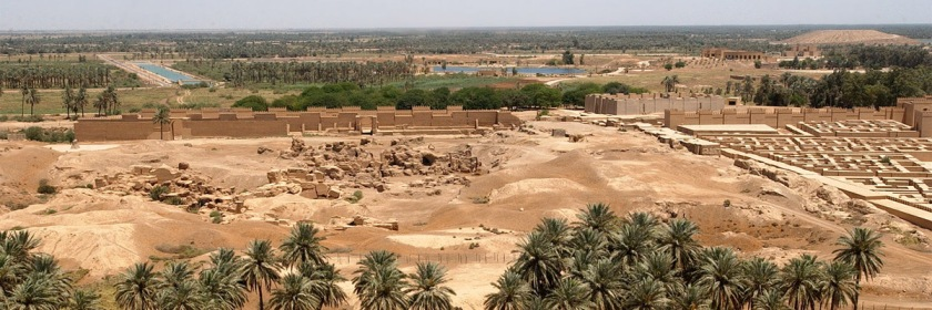 Remains of the ancient city of Babylon in Iraq as seen from Saddam Hussein's former summer palace: Credit US Navy Arlo K Abrahamson/Wikipedia/Creative Commons