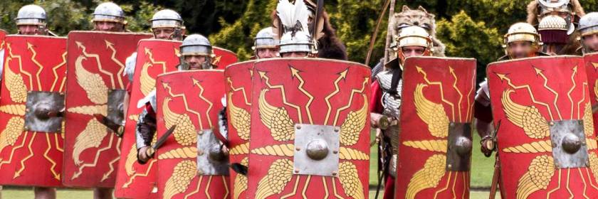 Replica roman shields Credit: Kim Benson/Flickr/Creative Commons