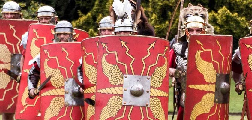 Replica roman shields Credit: Kim Benson/Flickr/Creative Commons