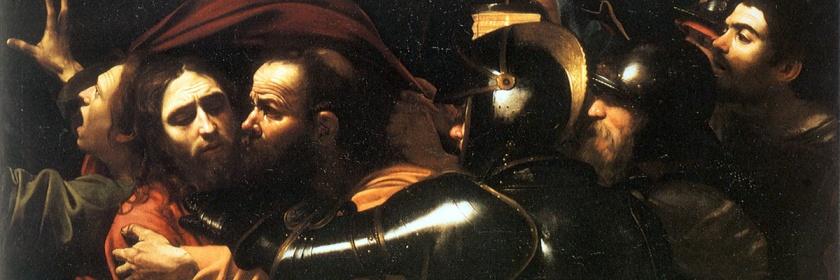 Judas betrays Jesus by Caravaggio (1571-1610)