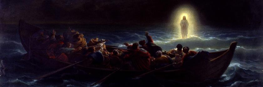 Jesus walking on water by Amedee Varin (1818-1863): Wikipedia