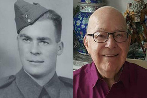 My dad as a young man in the Canadian army and a photo a month and a half before he died.