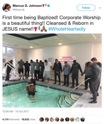Screen capture of Marcus Johnson baptism