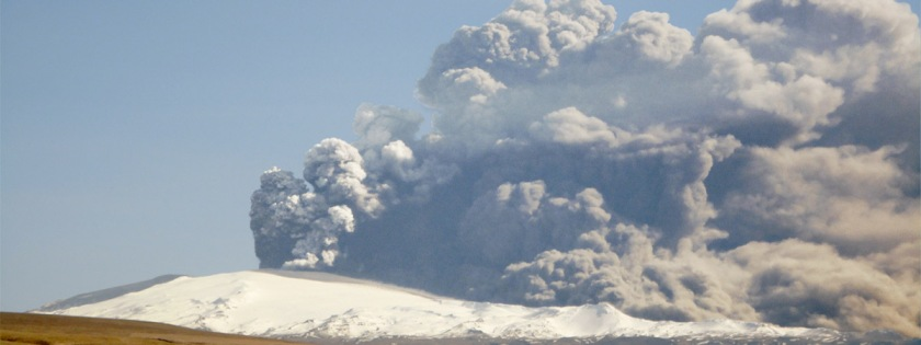 Column of smoke associated with volcanic erutpion on Iceland in 2010: Credit: Arni Frioriksson/Wikipedia