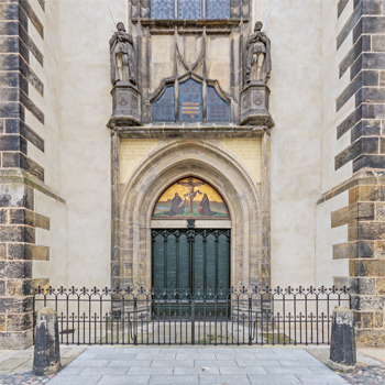 The front door of All Saints Church in Wittenburg, Germany where Luther pounded his 97 theses. Note: these are not the original doors that were apparently destroyed in a fire. Creidt A.Savin/Wikipedia