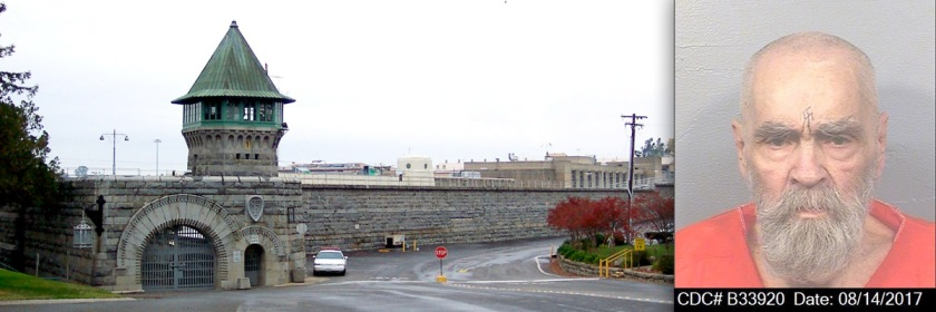 Folsom Prison, California Credit: Vidor/Wikipedia and Charles Manson Credit: California Department of Corrections and Rehabilitation/Wikipedia