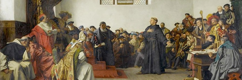 Roman Catholic officials confronted Martin Luther at the Diet of Worms to force him to recant of his heresies Painting by Anton Werner (1843-1915)/Wikipedia