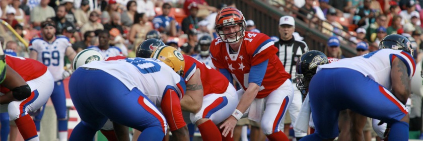 Quarterback Andy Dalton at 2012 NFL Pro Bowl game Credit: Cpl. Jody Lee Smith/Wikipedia