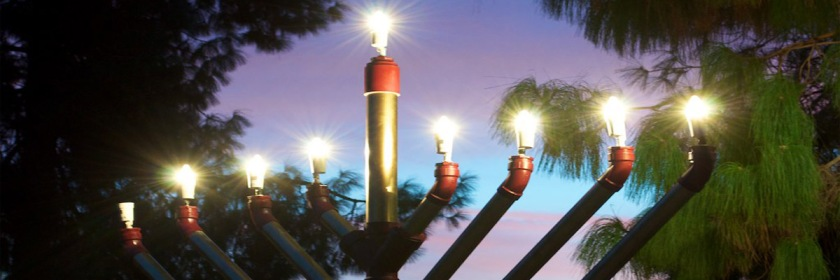 The lighting of the Menorah for Hannukkah. The eighth light is still unlit. Credit: Steven Crawford/Flickr/Creative Commons