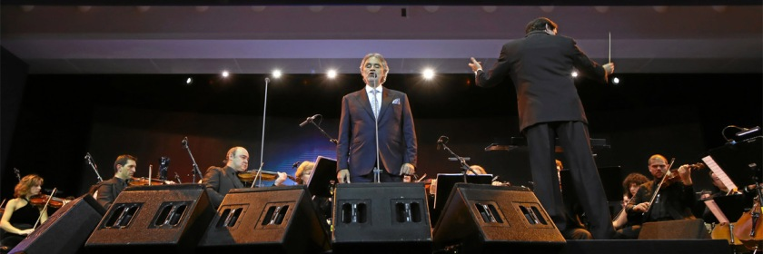 Andrea Bocelli singing at the annual meeting of the World Economic Forum in 2015 Credit: World Economic Forum/Flickr/Creative Commons