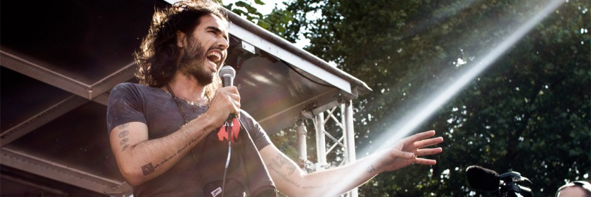 Russell Brand speaking at an austerity rally in England. Credit: D B Young/Wikipedia/Creative Commons