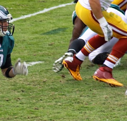 Nick Foles running for a touchdown in 24-16 victory over the Redskins in 2013. Credit: Mr.Shultz/Wikipedia/Creative Commons