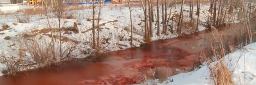 Molchanka River turned blood red: Credit YouTube capture