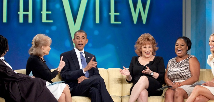 Former US President Barak Obama being interviewed on The View on July 28, 2010. From Left to Right: Whoopi Goldberg, Barbara Walters, Joy Behar, Sherri Shepherd, and Elisabeth Hasselbeck. Credit: Official White House photo by Pete Souza/Wikipedia