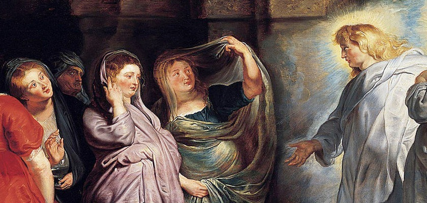 Peter Ruben's (1577-1640) painting of the women at the tomb. Perhaps fitting of her reputation as a prostitute, Ruben's had Mary of Magdalene wearing a red dress.