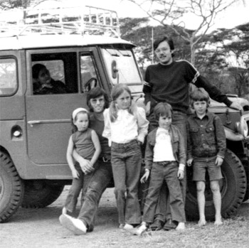 Sandy with his cousins, the Toyota Land Rover and his friend