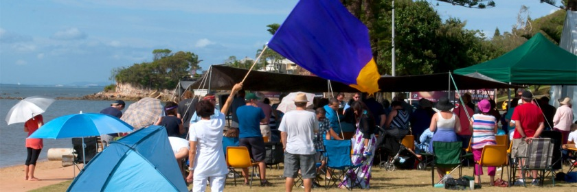 Redcliffe City Church worship service at the beach Credit: Leonard J Matthews/Flickr/Creative Commons