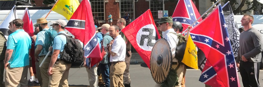 Members of the extreme right, Neo-Nazis and New Confederates gathering for the rally in Charlottesville, Virginia on August 10 and 11, 2017. Credit: Anthony Crider/Wikipedia